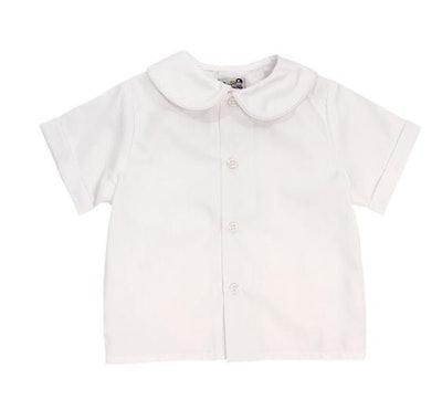 Peter Pan Collar Boys Piped Shirt