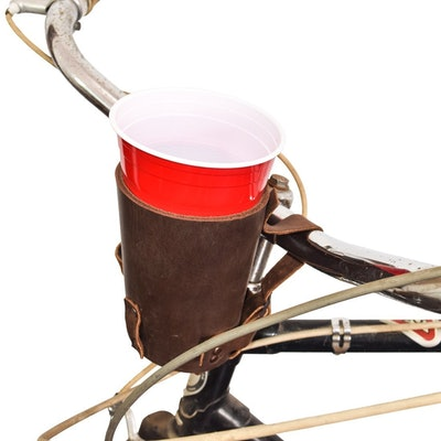 Cruzy Kuzy Thick Leather Bike Cup Holder Handmade by Hide & Drink