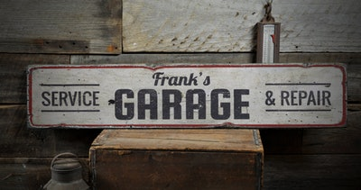 Mechanic Name Garage Wood Sign