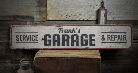Mechanic Name Garage Wood Sign