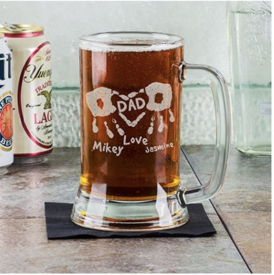 16 Oz Hand Prints Love Dad Etched Glass Beer Mug Stein