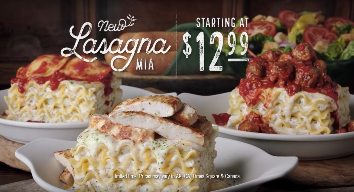 Olive Garden S Create Your Own Lasagna Offers 4 Different Sauces 6 Different Toppings