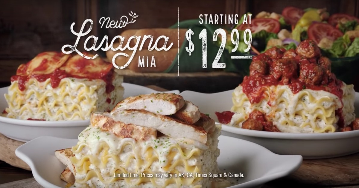 Olive Garden's Create-Your-Own Lasagna Offers 4 Different Sauces & 6 Differe...