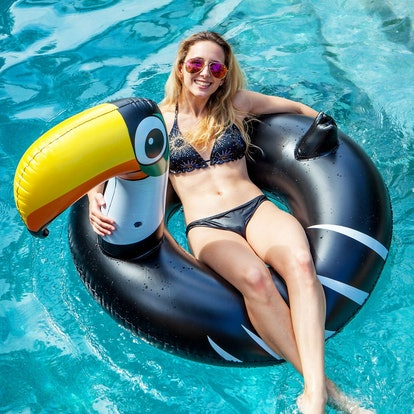 U.S. Pool Supply Giant 4 Foot Inflatable Black Toucan Pool Ring Tube Float