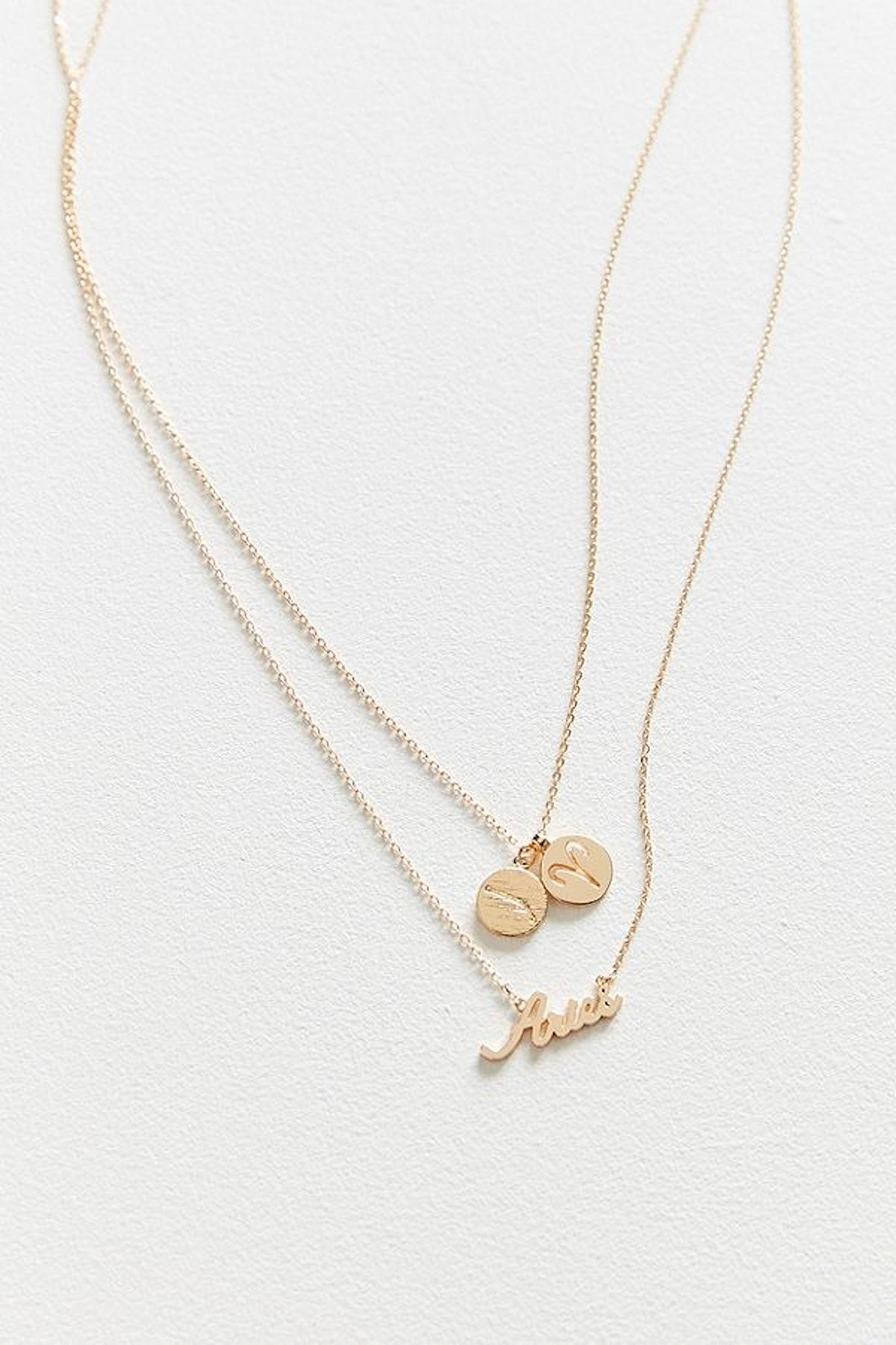 Aries Zodiac Layering Charm Necklace Set