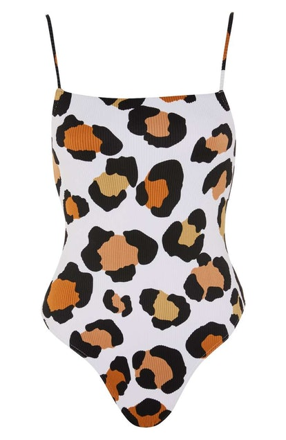 Leopard Rib One-Piece Swimsuit TOPSHOP