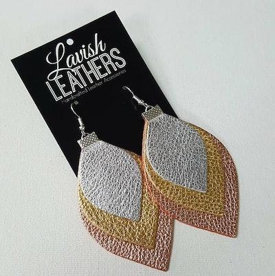 Triple Drop Soft Metallics Leather Earrings