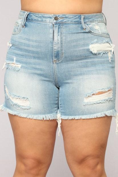 Distressed Love Denim Shorts