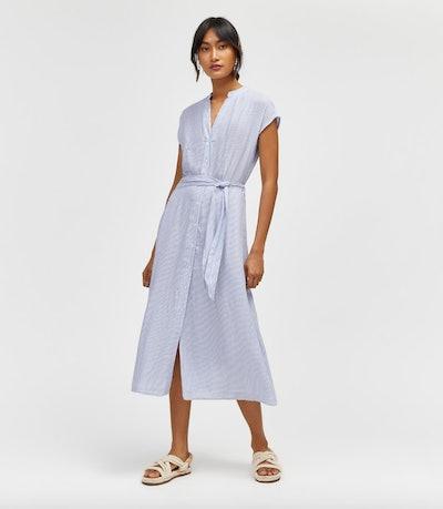 Stripe Shirt Midi Dress