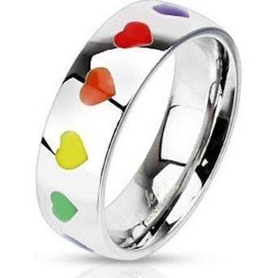 Rainbow Smooth Hearts Ring