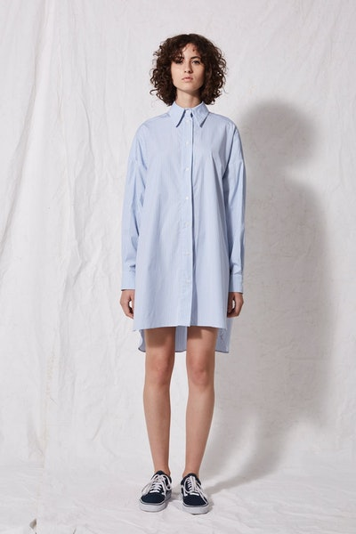 Striped Oversized Shirt Dress by Boutique