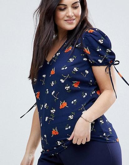 Fashion Union Plus Floral Print Blouse With Ribbon Ties