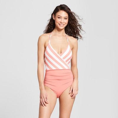 Women's Striped Halter Wrap One Piece