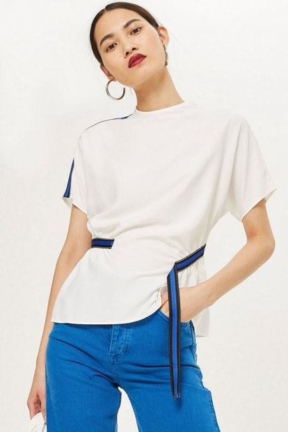 Blue Side Striped Blouse