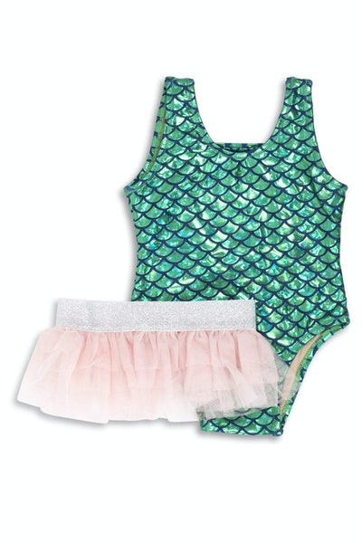 Green Metallic Mermaid Scoop Swimsuit Set
