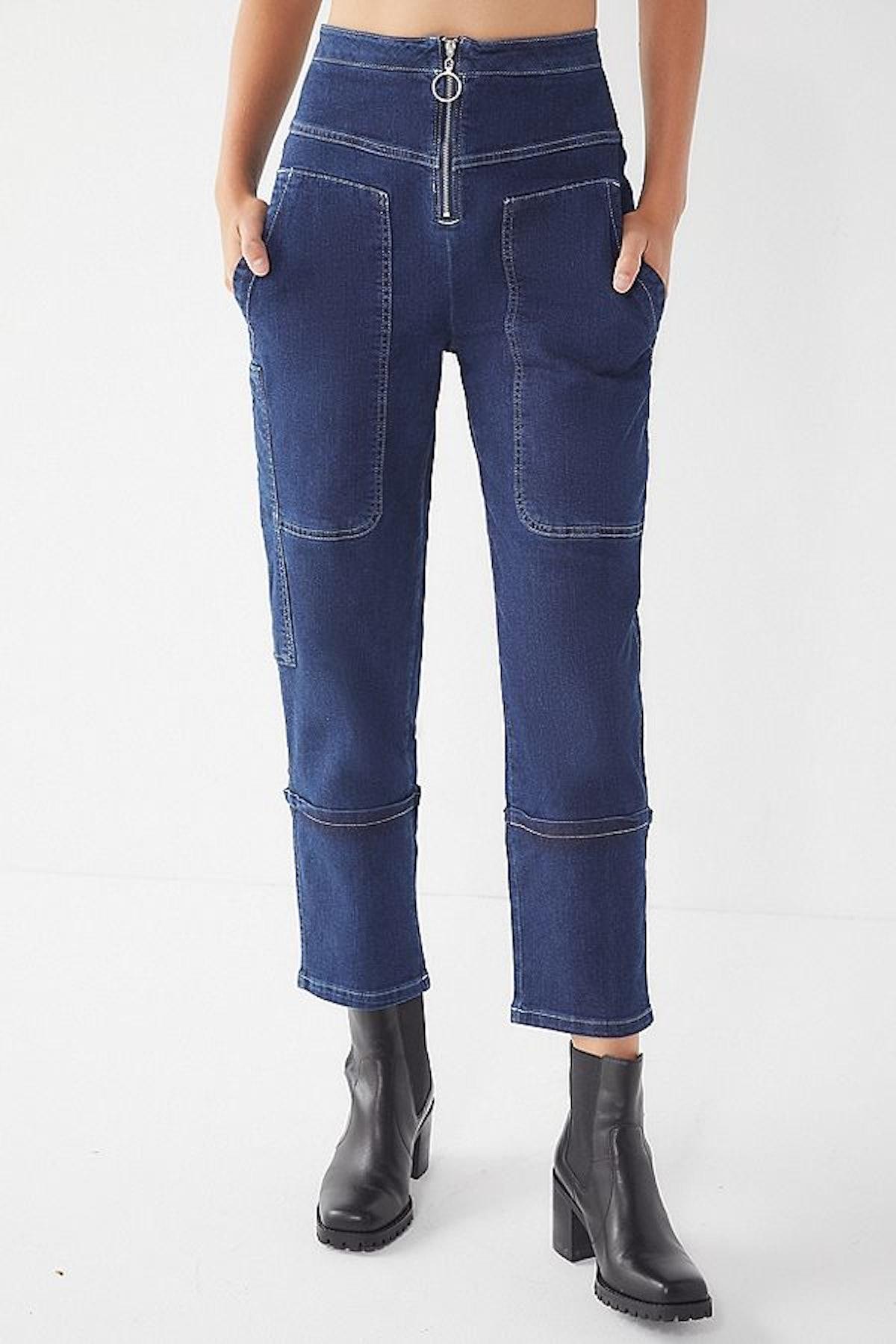 UO Max Contrast Stitch Straight-Leg Jean