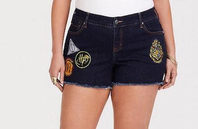 Harry Potter Patch Shorts Medium Wash