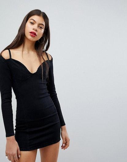 Liquor N Poker Denim Bralette Detail Dress