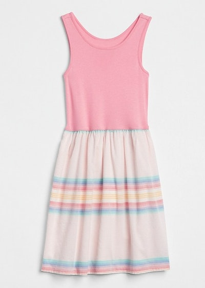 Stripe Mix-Fabric Dress