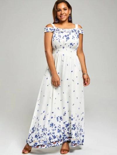 Cold Shoulder Plus Size Long Floral Dress