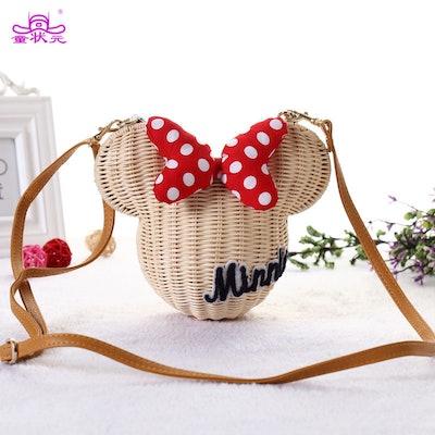 New Style Minnie Mouse Handmade Rattan Bag Cartoon Women's Purse Lovely Girls St