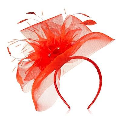 Star by Julien Macdonald — Orange Feather Veil Headband