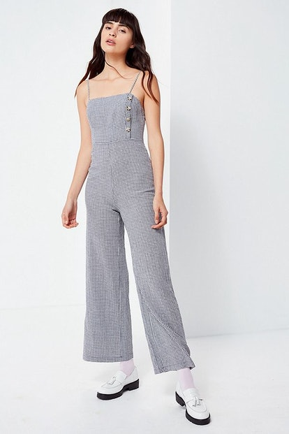 UO Straight-Neck Linen Button-Down Jumpsuit