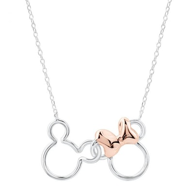 Two-Tone Disney Mickey and Minnie Mouse Necklace