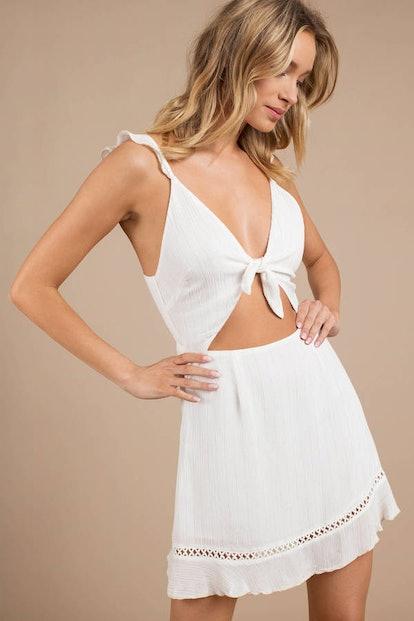 Zoey White Stripe Knot Skater Dress