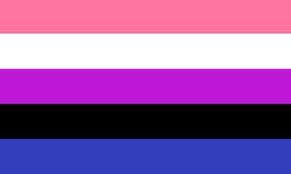 The genderfluid pride flag: pink, white, magenta, black, and blue.