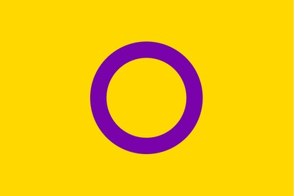 The intersex flag: a purple circle on a yellow background.