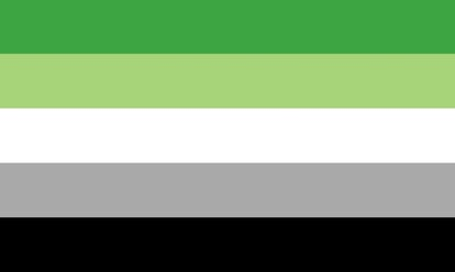 The asexual pride flag: 5 stripes of green, light green, white, grey, and black.