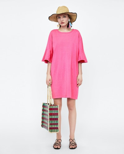 Ruffled-Sleeve Dress