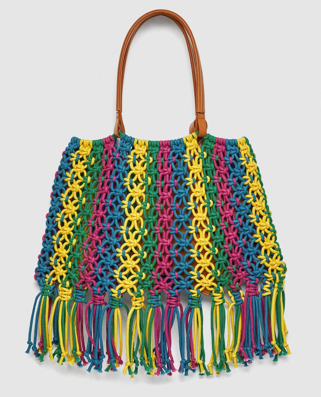 Multicolored Braided Bucket Bag