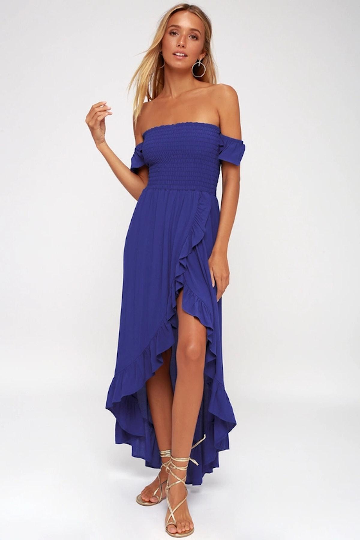 Wild Hearts Royal Blue Off-The-Shoulder Dress