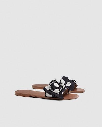 Polka-Dot Flat Sandals