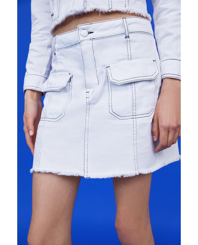 Contrasting Topstitch Skirt