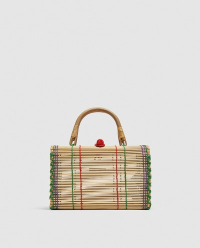 Straw Bag With Multi-Colored Top Stitching