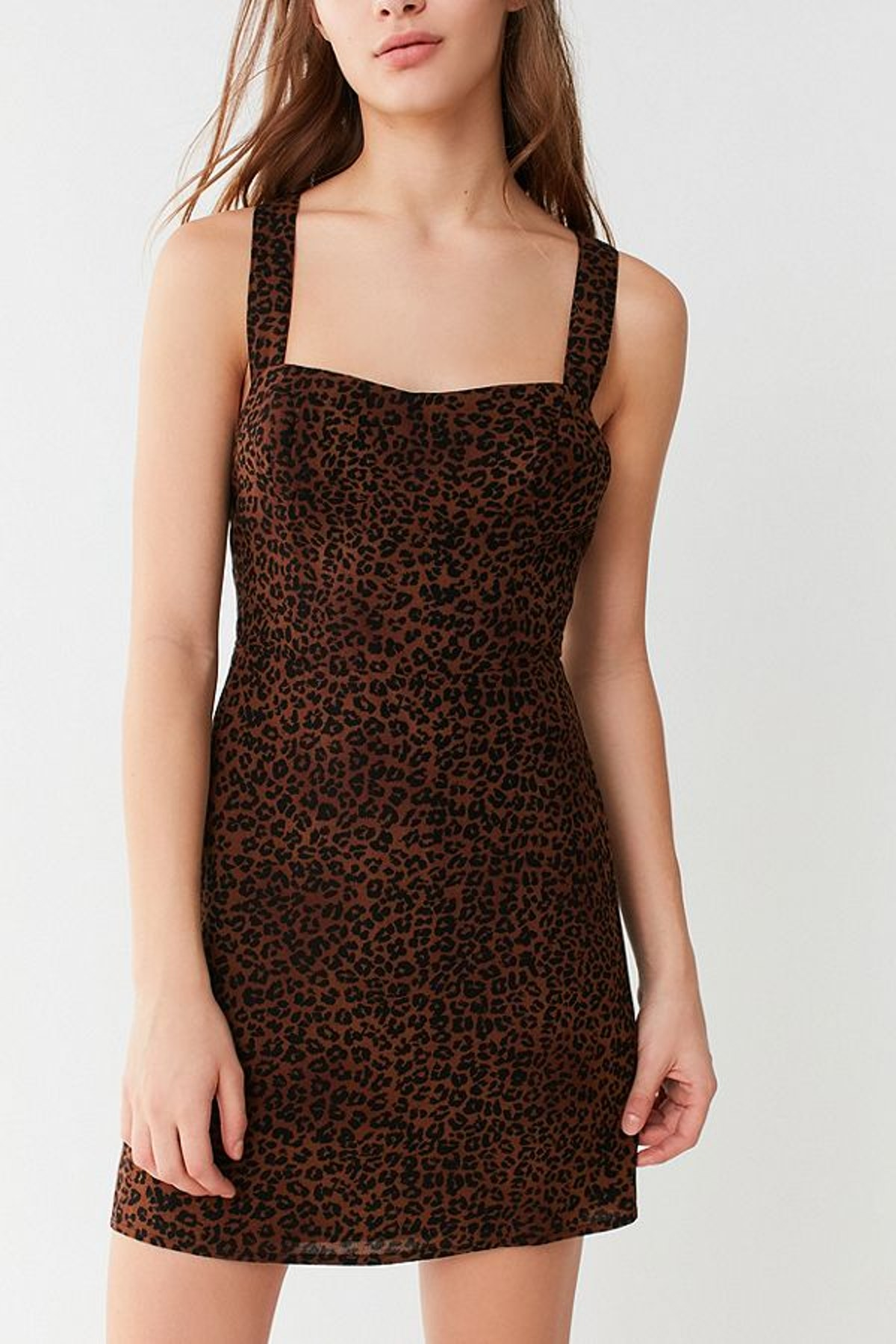 Animal Print Cross-Back Mini Dress UO Animal Print Cross-Back Mini Dress