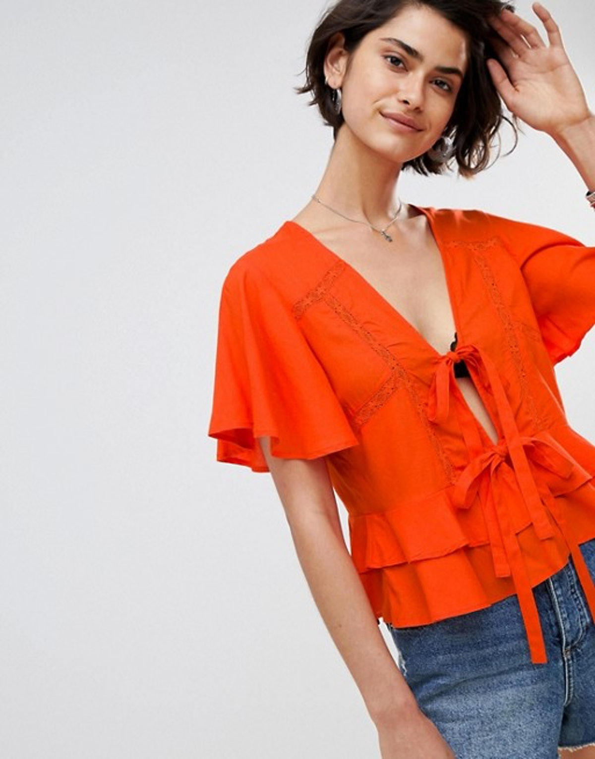 ASOS DESIGN Lace Insert Tie Front Top With Ruffle Hem