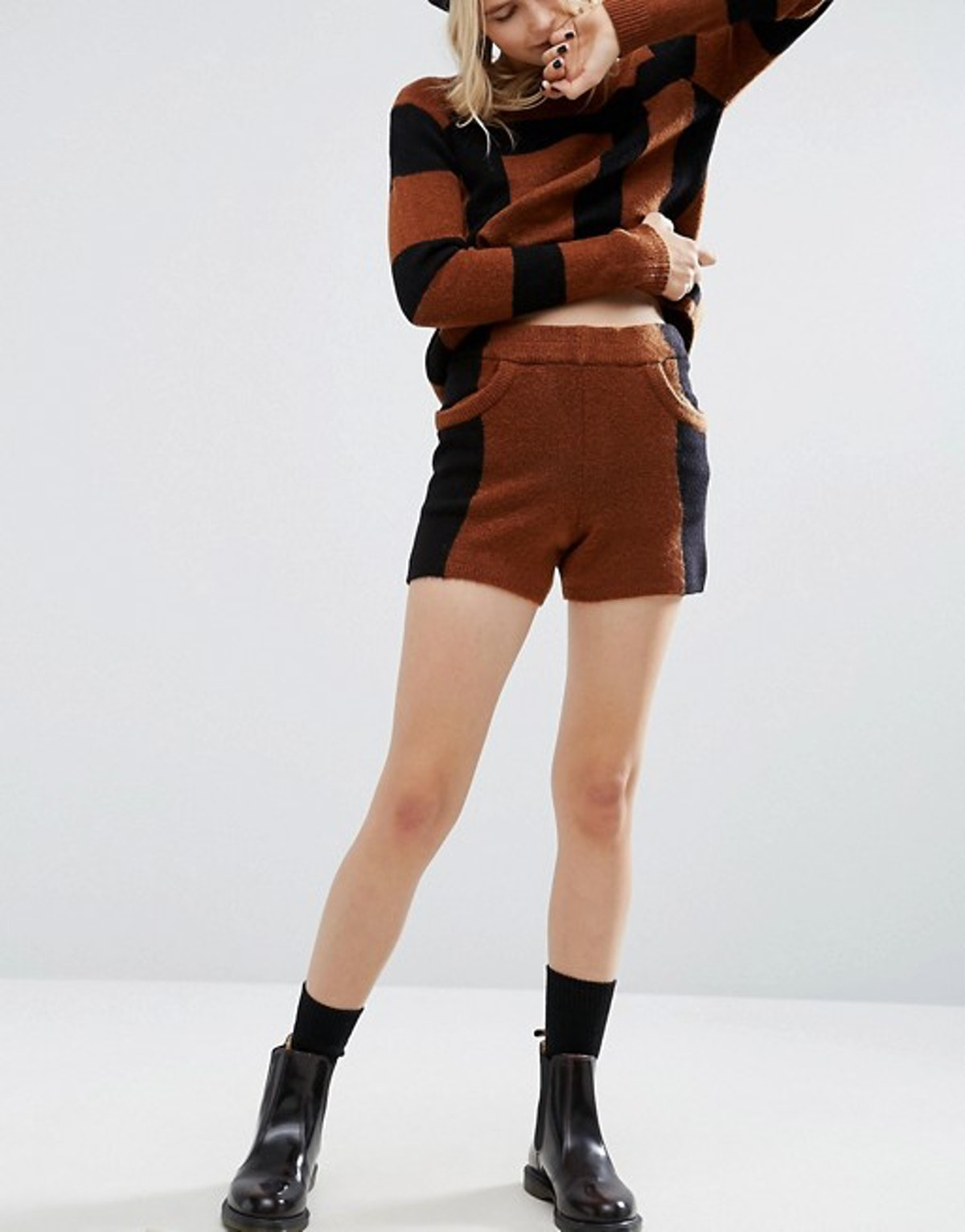 ASOS co-ord Knitted Shorts in Colorblock