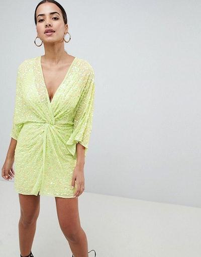 ASOS Design Mini Kimono Dress In Sequin