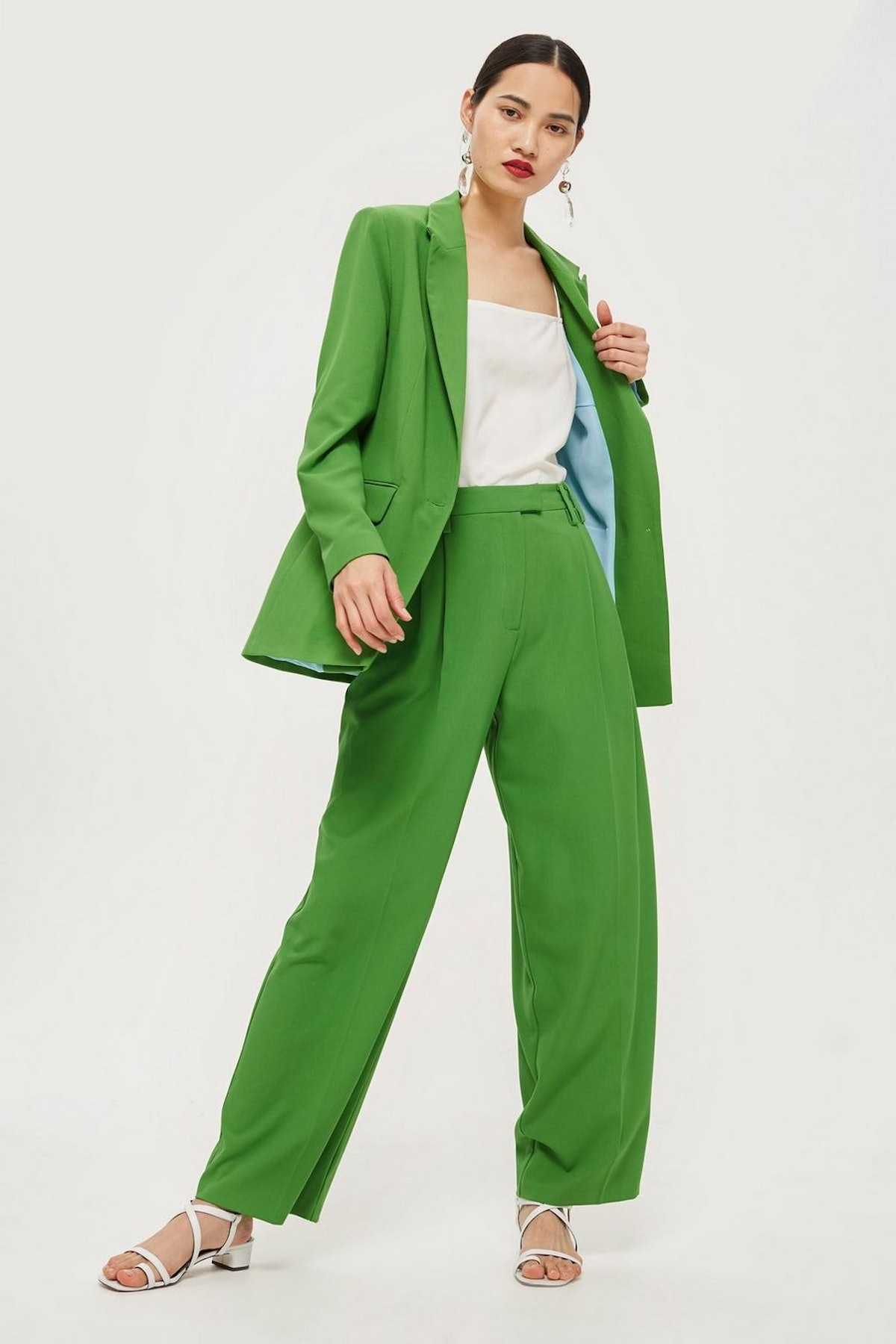 Green Blazer and Wide Leg Trousers