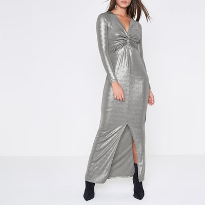 Silver Metallic Knot Front Bodycon Maxi Dress