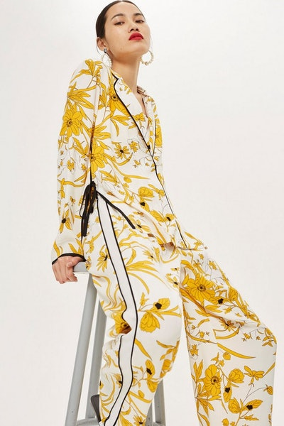 Linear Floral Pyjama Style Shirt and Trousers Set