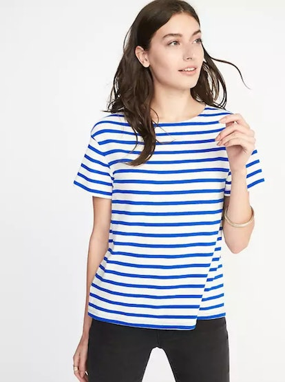 Relaxed Mariner-Stripe Thick-Knit Tee for Women