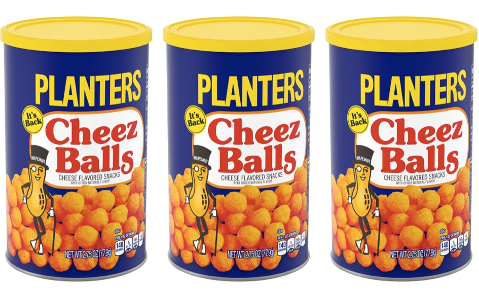 Here's Where To Get Planters' Cheez Balls For The Ultimate Throwback on mr. peanut, planters peanuts, stove top stuffing, kraft cheese nips, a1 steak sauce, planters cheese puffs, oscar mayer, planters cheese curls, bingo balls, nike soccer balls, planters product, prince polo, miracle whip, kraft singles, planters cheese ba s, planters honey roasted cashews, boca burger,