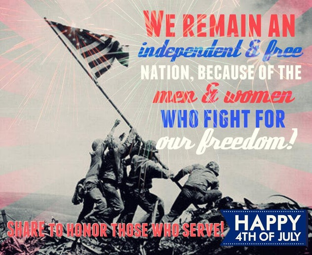 This patriotic 4th of July meme features an iconic image that honors veterans.
