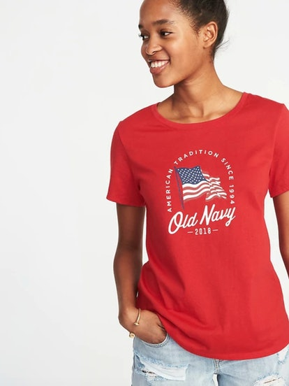 Relaxed 2018 Flag-Graphic Tee for Women