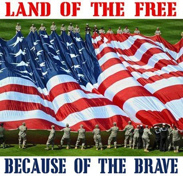 This patriotic 4th of July meme honors the brave men and women in uniform.